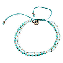 Buy One Button Glass and Metal Bead Friendship Bracelet, Turquoise Online at johnlewis.com