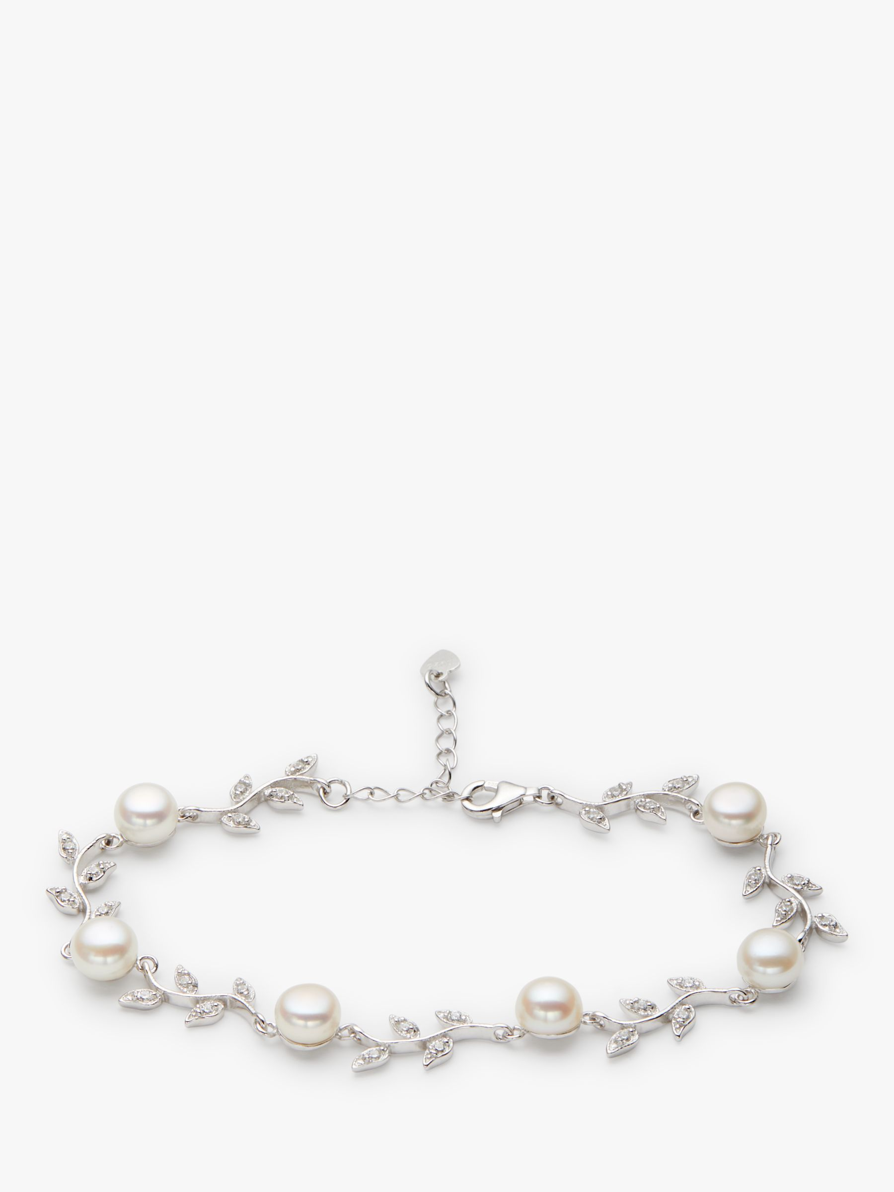 Lido Pearls Lido Pearls Leaf Pearl Bracelet, Silver/White