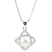 Buy Lido Pearls Cubic Zirconia Twist Pearl Pendant Necklace, Silver Online at johnlewis.com