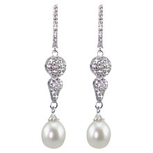 Buy Lido Pearls Cubic Zirconia and Pearl Drop Earrings, Silver/White Online at johnlewis.com
