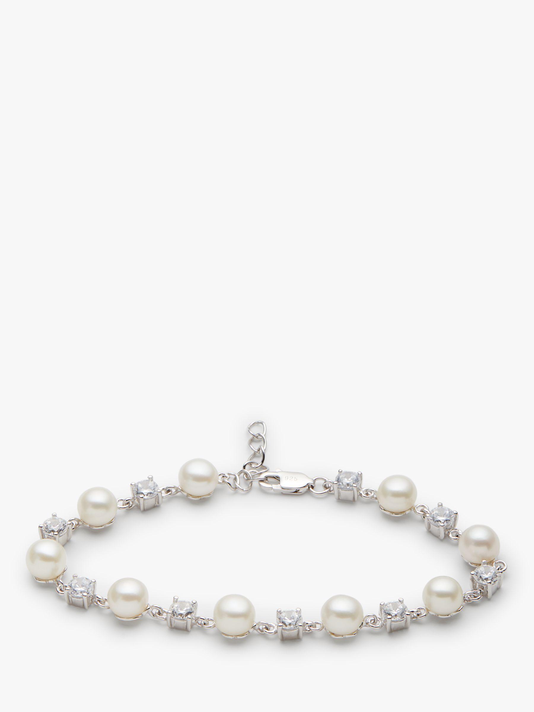 Lido Pearls Lido Pearls Pearl and Cubic Zirconia Spacer Bracelet, Silver/White