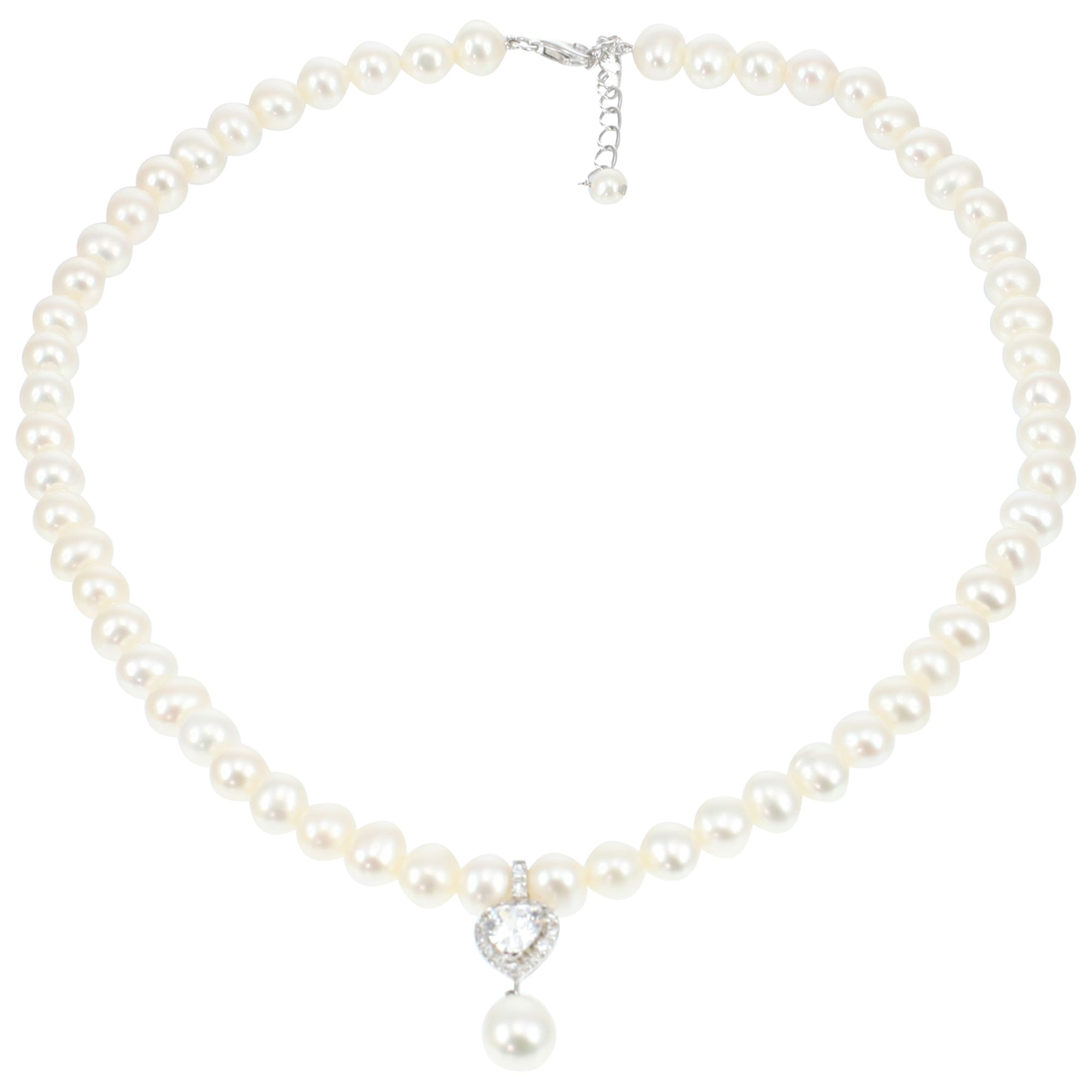 Lido Pearls Lido Pearls Heart Drop Pearl Necklace, White
