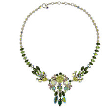 Buy Eclectica Vintage 1950s Chrome Plated Austrian Crystal Necklace, Yellow/Green Online at johnlewis.com