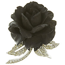 Buy Eclectica 1950's Boucher Chrome Plated Glass Stone Rose Brooch, Black Online at johnlewis.com