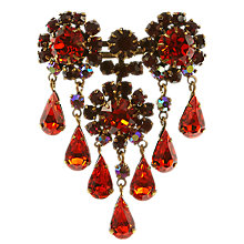 Buy Eclectica 1950's Gold Plated Austrian Crystal Tear Drop Brooch, Orange/Red Online at johnlewis.com
