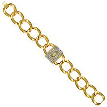 Buy Eclectica Vintage 1980s Chunky 14k Gold Plated Link Crystal Bracelet, Gold Online at johnlewis.com