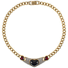 Buy Eclectica Vintage 1980s Gold Plated Heart Shaped Glass Stone Necklace, Black/Red Online at johnlewis.com