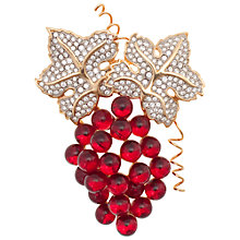 Buy Eclectica 1980's Swarovski Gold Plated Crystal Glass Stone Grape Brooch, Red/Gold Online at johnlewis.com