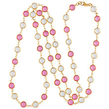 Buy Susan Caplan Vintage 1970's Monet Gold Plated Swarovski Crystal Rose Link Necklace, Pink/Gold Online at johnlewis.com