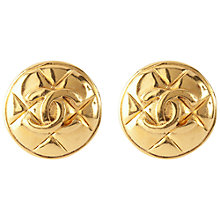 Buy Susan Caplan Vintage 1980's Chanel Mattelasse Clip On Earrings, Gold Online at johnlewis.com