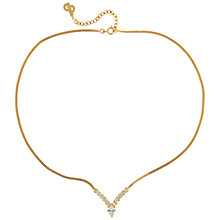 Buy Susan Caplan Vintage 1970's Dior Gold Plated Swarovski Crystal V Necklace, Gold/Crystal Online at johnlewis.com