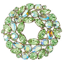 Buy Susan Caplan Vintage 1950's Weiss Silver Plated Swarovski Crystal Brooch, Silver/Green Online at johnlewis.com