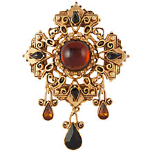 Buy Susan Caplan Vintage 1950's Florenza Gold Plated Swarovski Crystal Faux Amber Brooch, Gold/Amber Online at johnlewis.com