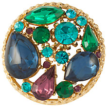 Buy Susan Caplan Vintage 1960's Sphinx Gold Plated Swarovski Crystal Round Brooch, Gold/Green Online at johnlewis.com
