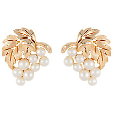 Buy Susan Caplan Vintage 1950's Trifari Gold Plated Faux Pearl and Leaf Earrings, Gold Online at johnlewis.com