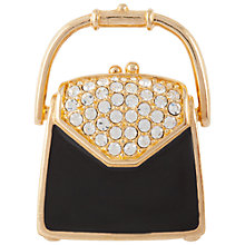 Buy Susan Caplan Vintage 1980's Gold Plated Swarovski Crystal Handbag Brooch, Gold/Black Online at johnlewis.com