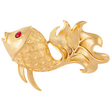 Buy Susan Caplan Vintage 1980's Trifari Gold Plated Swarovski Crystal Fish Brooch, Gold/Red Online at johnlewis.com