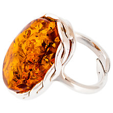 Buy Be-Jewelled Adjustable Sterling Silver Amber Ring, Amber Online at johnlewis.com