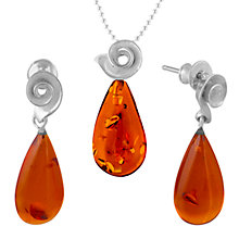 Buy Be-Jewelled Sterling Silver Amber Pendant and Drop Earrings Gift Set, Silver/Amber Online at johnlewis.com