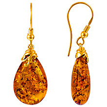 Buy Be-Jewelled Gold Plated Sterling Silver Amber Drop Earrings, Amber Online at johnlewis.com
