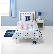 Buy little home at John Lewis Boats & the Blue Sea Embroidered Duvet Cover and Pillowcase Set, Single Online at johnlewis.com