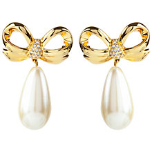 Buy Susan Caplan Vintage 1990's Elizabeth Taylor Gold Plated Faux Pearl Swarovski Crystal Bow Earrings, Gold/Pearl Online at johnlewis.com