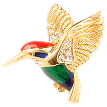 Buy Susan Caplan Vintage 1960's Attwood and Sawyer Gold Plated Swarovski Crystal Hummingbird Brooch, Gold/Green Online at johnlewis.com