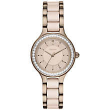 Buy DKNY NY2467 Women's Chambers Ceramic and Stainless Steel Bracelet Strap Watch, Gold/Beige Online at johnlewis.com
