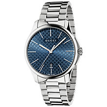 Buy Gucci YA126316 Men's G Timeless Stainless Steel Bracelet Strap Watch, Silver/Blue Online at johnlewis.com