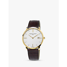 Buy Frédérique Constant FC-220V5S5 Men's Slimline Date Leather Strap Watch, Brown/White Online at johnlewis.com