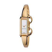 Buy Gucci YA109527 Women's G Line Gold Plated Mother of Pearl Bangle Strap Watch, Gold/White Online at johnlewis.com