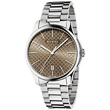 Buy Gucci YA126317 Men's G Timeless Stainless Steel Bracelet Strap Watch, Silver/Brown Online at johnlewis.com