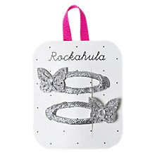 Buy Rockahula Glitter Butterfly Hair Clip, Pack of 2, Silver Online at johnlewis.com