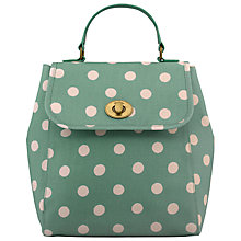 Buy Cath Kidston Turnlock Backpack, Green Spot Online at johnlewis.com