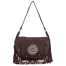 Buy East Fringed Beaded Leather Bag, Brown Online at johnlewis.com