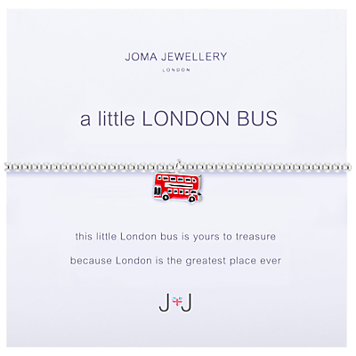 Joma A Little London Bus Enamel Charm Bracelet, Silver/Red
