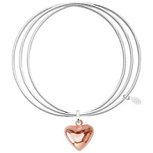 Buy Joma Lucia Triple Heart Charm Bangle, Silver/Rose Gold Online at johnlewis.com