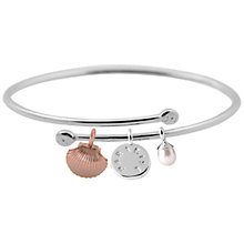Buy Joma Paradise Pearl Charm Oval Bangle, Silver/Rose Gold Online at johnlewis.com