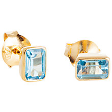 Buy Auren 18ct Gold Plated Sterling Silver Baguette Topaz Stud Earrings, Gold/Blue Online at johnlewis.com