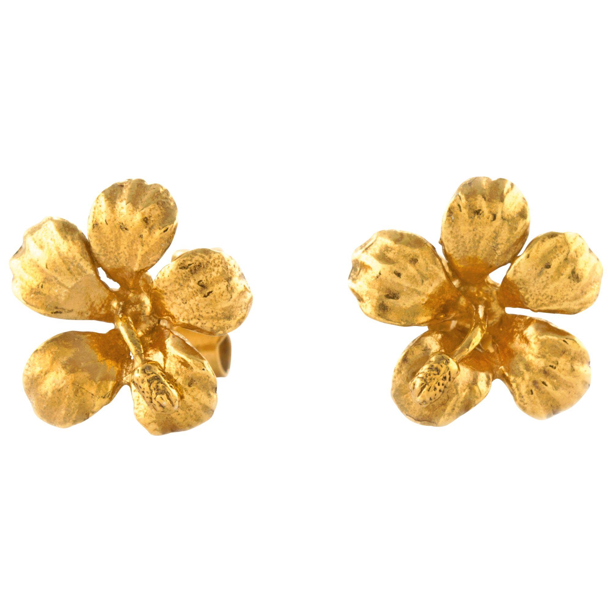 Alex Monroe Alex Monroe Single Flower Stud Earrings, Gold