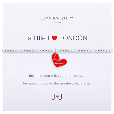 Joma A Little I Love London Enamel Heart Charm Bracelet, Silver/Red