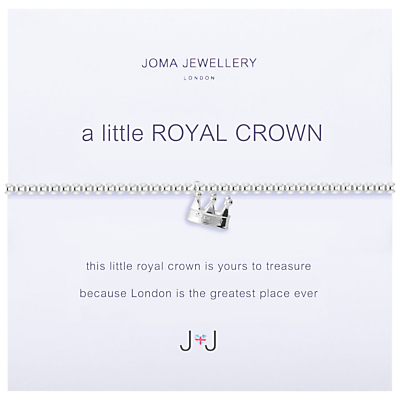 Joma A Little Royal Crown Charm Bracelet, Silver