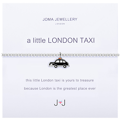 Joma A Little London Taxi Enamel Charm Bracelet, Silver/Black