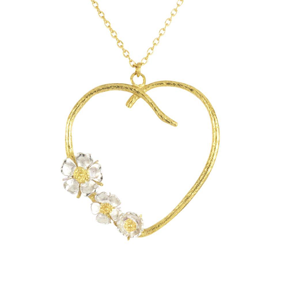 Alex Monroe Alex Monroe Heart and Flower Pendant Necklace, Gold/Silver