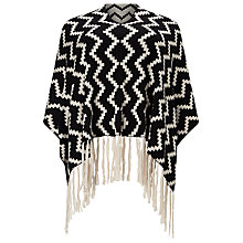 Buy Windsmoor Zig Zag Poncho, Black/Ivory Online at johnlewis.com