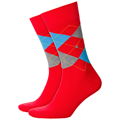 Burlington King Size Argyle Socks, One Size, Red