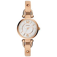 Buy Fossil ES3745 Women's Georgia Leather Strap Watch, Sand/White Online at johnlewis.com