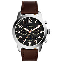 Buy Fossil Men's Pilot 54 Chronograph Date Leather Strap Watch Online at johnlewis.com