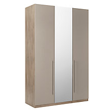 Buy House by John Lewis Mix it Tall T-Bar Handle Mirrored Triple Wardrobe, Matt Mocha/Grey Ash Online at johnlewis.com