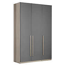 Buy House by John Lewis Mix it Tall Block Handle Triple Wardrobe, Gloss Steel/Grey Ash Online at johnlewis.com
